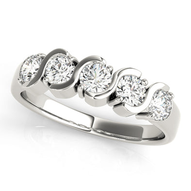 Half Swirl Bezel Set Diamond Wedding Band