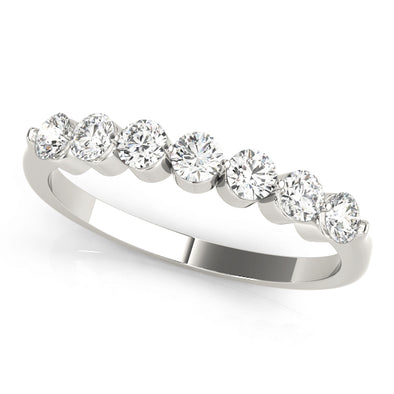 Seven Round Bezel Set Diamond Wedding Band