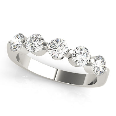 Five Diamond Bezel Set Diamond Wedding Band