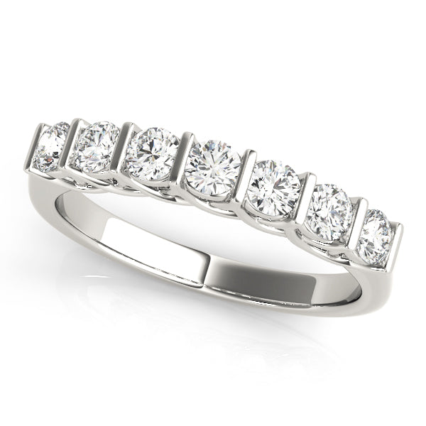 Seven Round Diamond Wedding Band with Scalloped Design