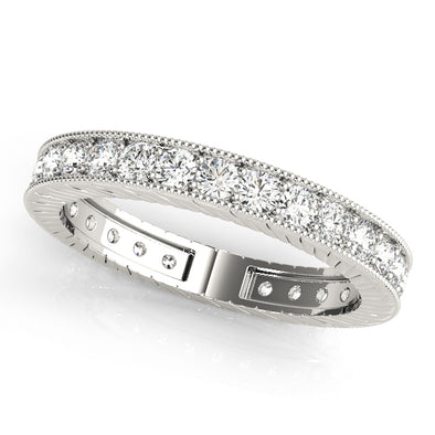 Channel Set Milgrain Edge Diamond Eternity Wedding Band