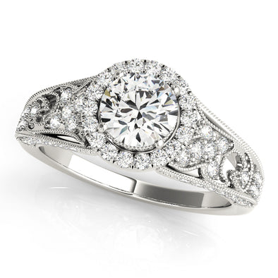 Vintage Style Diamond Halo and Engraved Detail Engagement Mounting