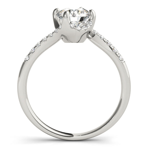 Half Halo Asymmetrical Design Diamond Engagement Mounting