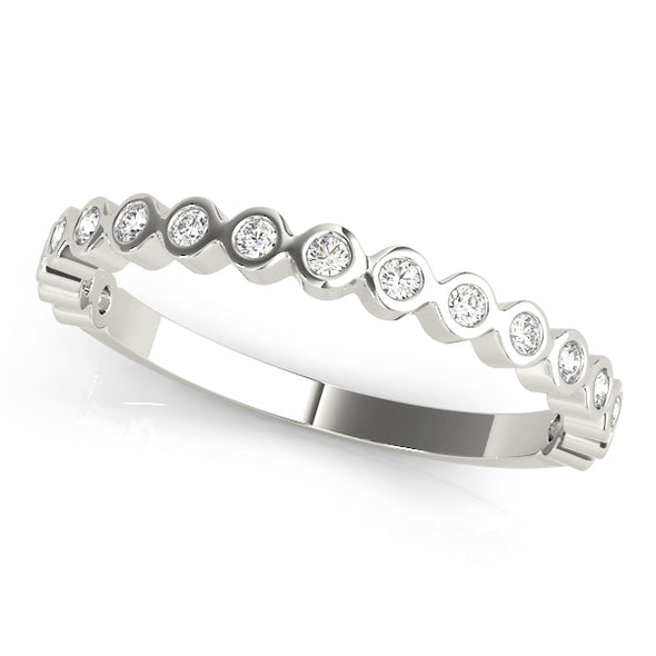 Bezel Set Round Diamond Stackable Wedding Band
