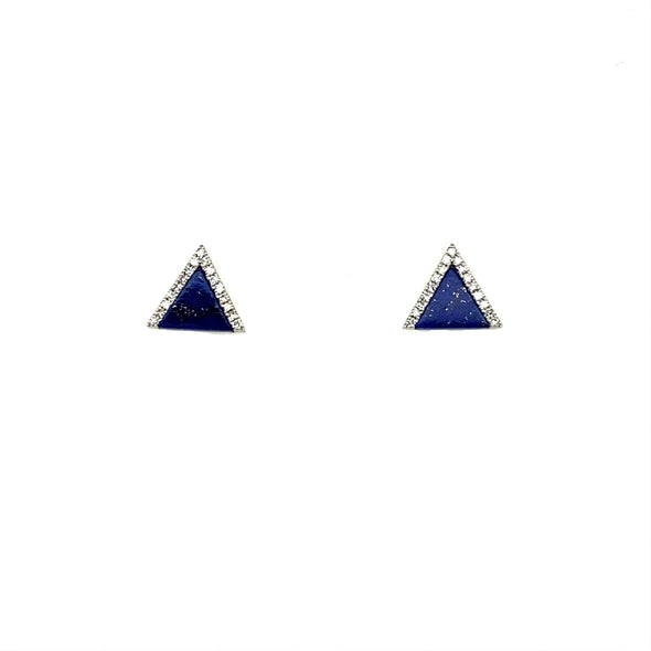 Triangle Lapis and Diamond Accented Earrings