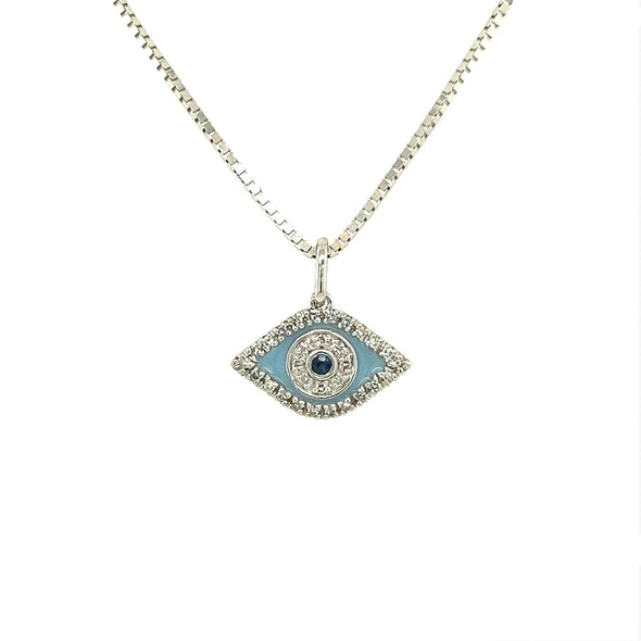 Sapphire and Diamond Evil Eye Pendant
