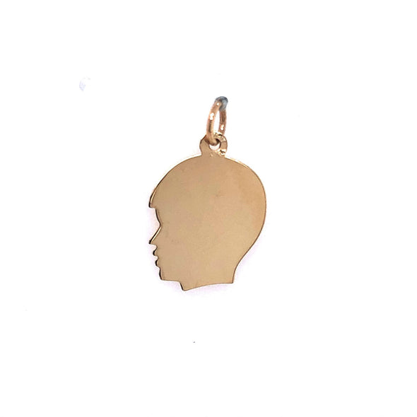 Boy's Head Charm - 14kt Yellow Gold