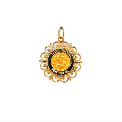 Scroll Detail St. Michael Medal - 14kt Yellow Gold