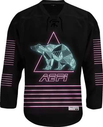 Alpha Epsilon Pi - Neon Polar Bear Hockey Jersey Hockey Kinetic Society LLC