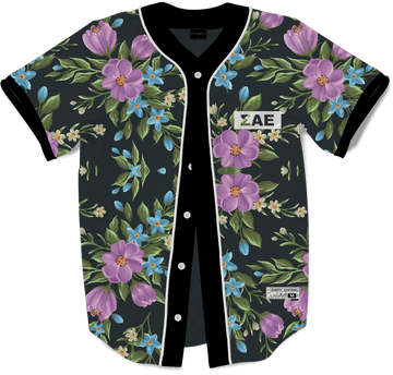Sigma Alpha Epsilon - Midnight Bloom Baseball Jersey Premium Baseball Kinetic Society