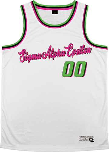 Sigma Alpha Epsilon - Bubble Gum Basketball Jersey Premium Basketball Kinetic Society LLC