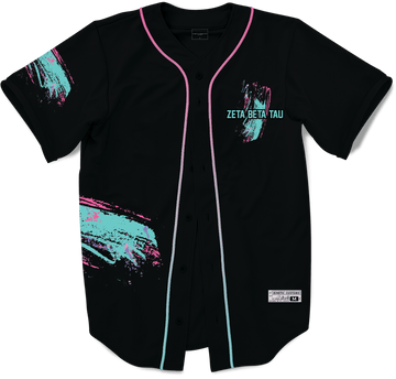 Zeta Beta Tau - Miami Beach Splash Baseball Jersey Premium Baseball Kinetic Society Black Sublimation Print