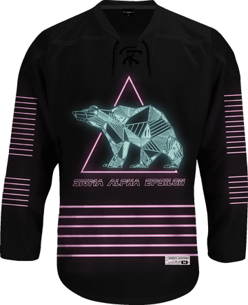 Sigma Alpha Epsilon - Neon Polar Bear Hockey Jersey Hockey Kinetic Society LLC
