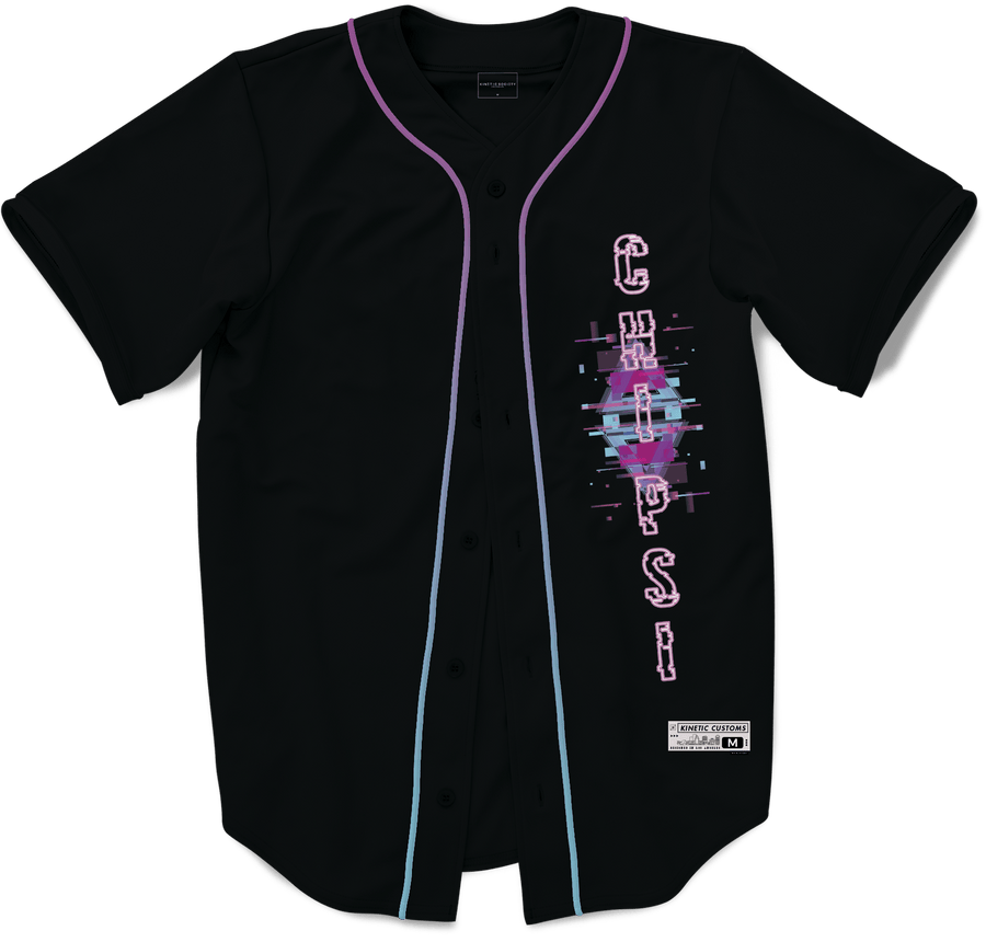 Chi Psi - Glitched Vision Baseball Jersey - Kinetic Society