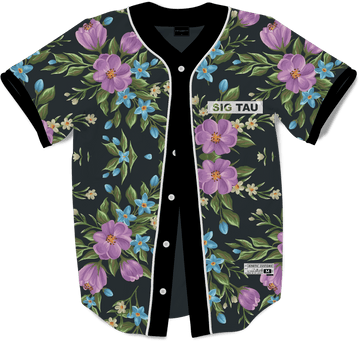 Sigma Tau Gamma - Midnight Bloom Baseball Jersey - Kinetic Society