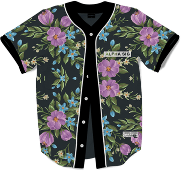 Alpha Sigma Phi - Midnight Bloom Baseball Jersey - Kinetic Society
