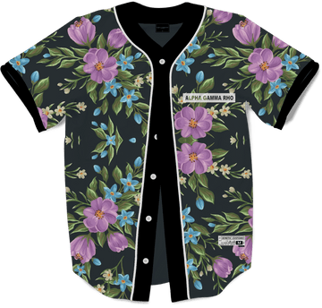 Alpha Gamma Rho - Midnight Bloom Baseball Jersey - Kinetic Society