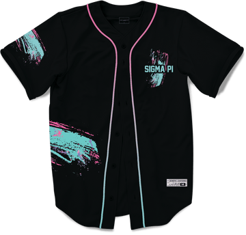 Sigma Pi - Miami Beach Splash Baseball Jersey Premium Baseball Kinetic Society Black Sublimation Print