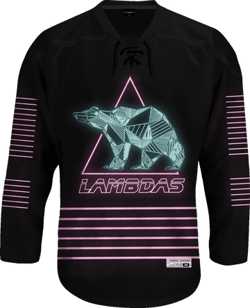 Lambda Phi Epsilon - Neon Polar Bear Hockey Jersey Hockey Kinetic Society LLC