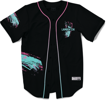Lambda Chi Alpha - Miami Beach Splash Baseball Jersey Premium Baseball Kinetic Society Black Sublimation Print