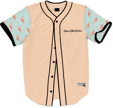 Sigma Alpha Epsilon - Flamingo Fam Baseball Jersey Premium Baseball Kinetic Society LLC