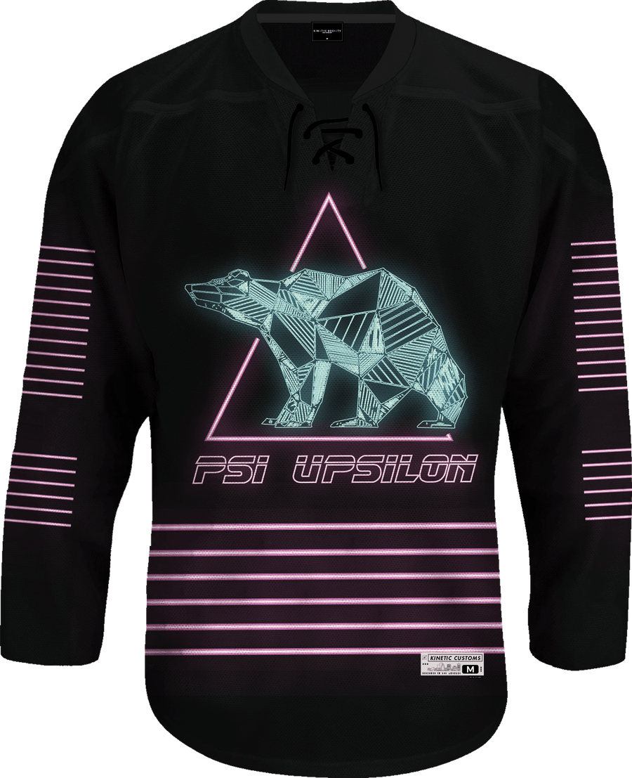 Psi Upsilon - Neon Polar Bear Hockey Jersey - Kinetic Society