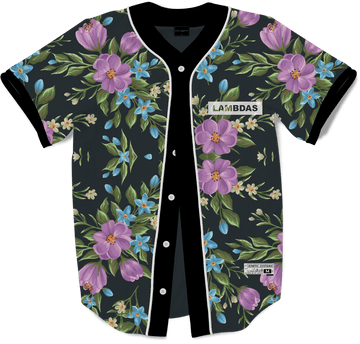 Lambda Phi Epsilon - Midnight Bloom Baseball Jersey Premium Baseball Kinetic Society