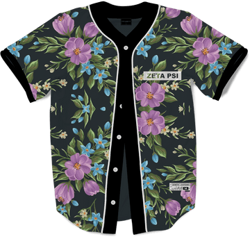 Zeta Psi - Midnight Bloom Baseball Jersey Premium Baseball Kinetic Society