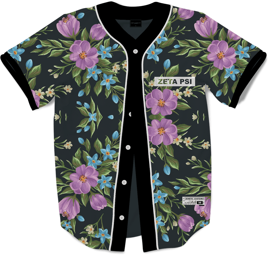 Zeta Psi - Midnight Bloom Baseball Jersey - Kinetic Society