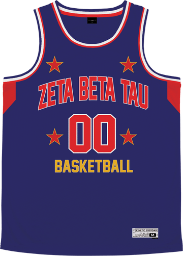 Zeta Beta Tau - Retro Ballers Basketball Jersey Premium Basketball Kinetic Society