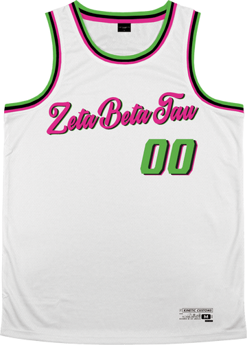 Zeta Beta Tau - Bubble Gum Basketball Jersey Premium Basketball Kinetic Society LLC
