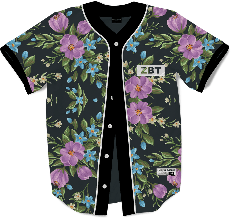 Zeta Beta Tau - Midnight Bloom Baseball Jersey - Kinetic Society