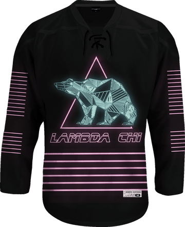Lambda Chi Alpha - Neon Polar Bear Hockey Jersey Hockey Kinetic Society LLC