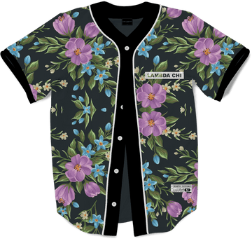 Lambda Chi Alpha - Midnight Bloom Baseball Jersey Premium Baseball Kinetic Society