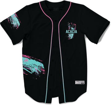 Acacia - Miami Beach Splash Baseball Jersey Premium Baseball Kinetic Society Black Sublimation Print