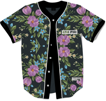 Chi Phi - Midnight Bloom Baseball Jersey - Kinetic Society