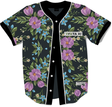 Theta Xi - Midnight Bloom Baseball Jersey - Kinetic Society