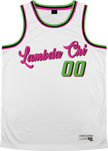 Lambda Chi Alpha - Bubble Gum Basketball Jersey Premium Basketball Kinetic Society LLC