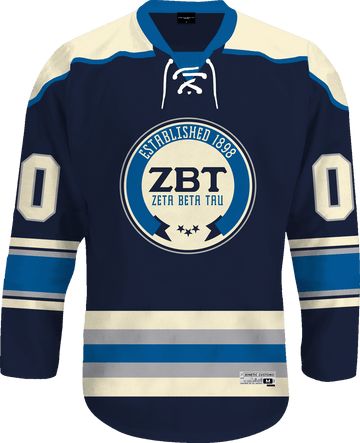 Zeta Beta Tau - Blue Cream Hockey Jersey - Kinetic Society