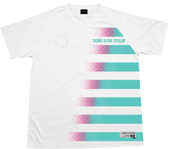 Sigma Alpha Epsilon - White Candy Floss Soccer Jersey Soccer Kinetic Society LLC