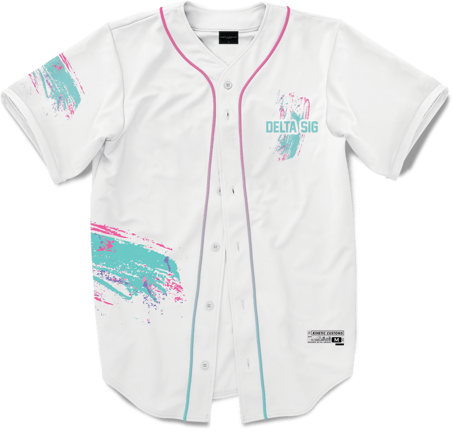 Delta Sigma Phi - White Miami Beach Splash Baseball Jersey Premium Baseball Kinetic Society LLC