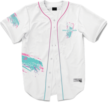 Sigma Alpha Epsilon - White Miami Beach Splash Baseball Jersey Premium Baseball Kinetic Society LLC