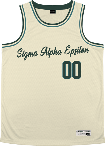 Sigma Alpha Epsilon - Buttercream Basketball Jersey Premium Basketball Kinetic Society LLC