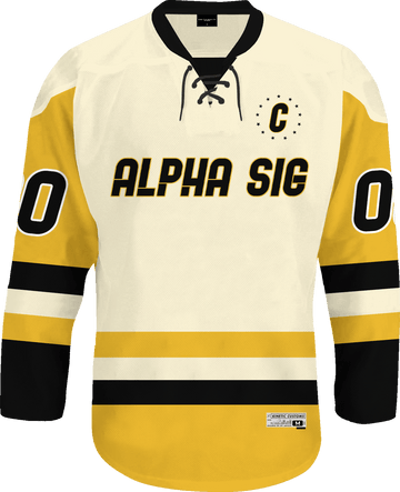 Alpha Sigma Phi - Golden Cream Hockey Jersey - Kinetic Society