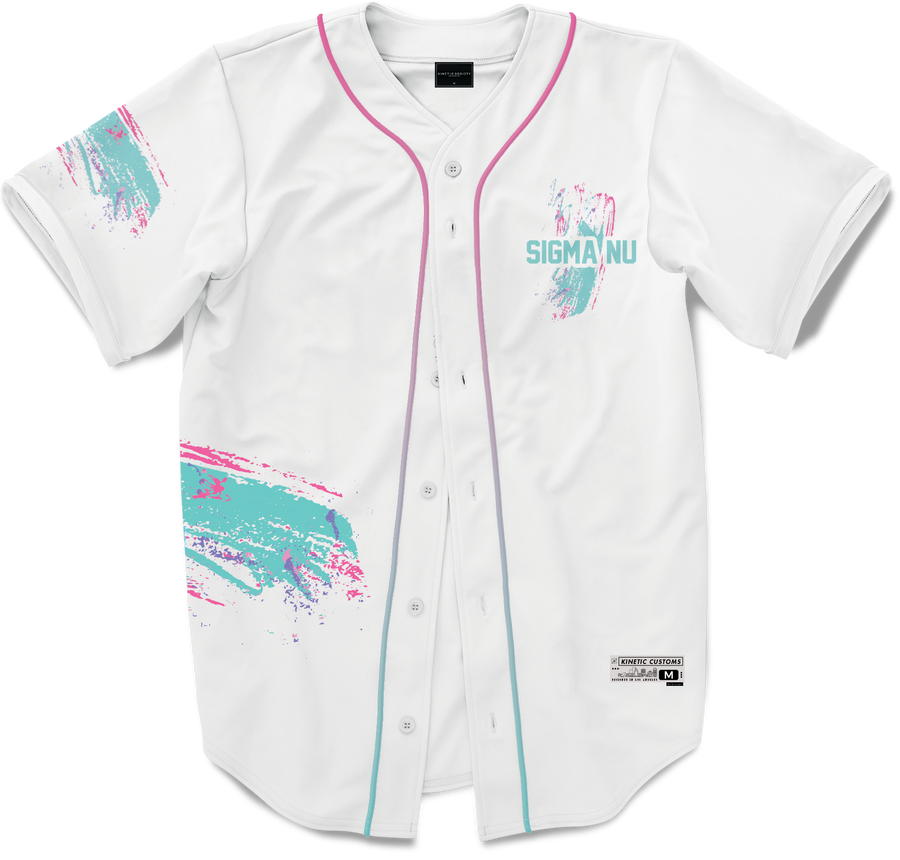 Sigma Nu - White Miami Beach Splash Baseball Jersey - Kinetic Society