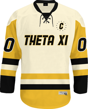Theta Xi - Golden Cream Hockey Jersey - Kinetic Society