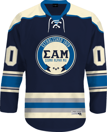 Sigma Alpha Mu - Blue Cream Hockey Jersey - Kinetic Society
