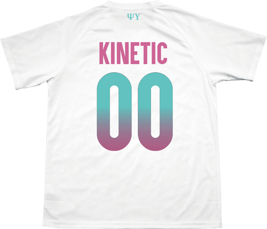 Psi Upsilon - White Candy Floss Soccer Jersey Soccer Kinetic Society LLC