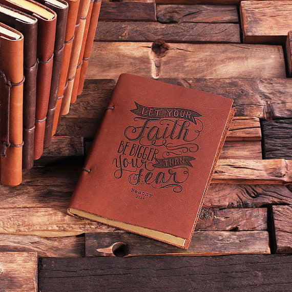Personalized Leather Notebook Journal - Faith - Rion Douglas Gifts - 1