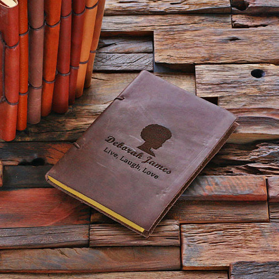 Personalized Leather Notebook Journal - Live, Laugh - Rion Douglas Gifts - 1